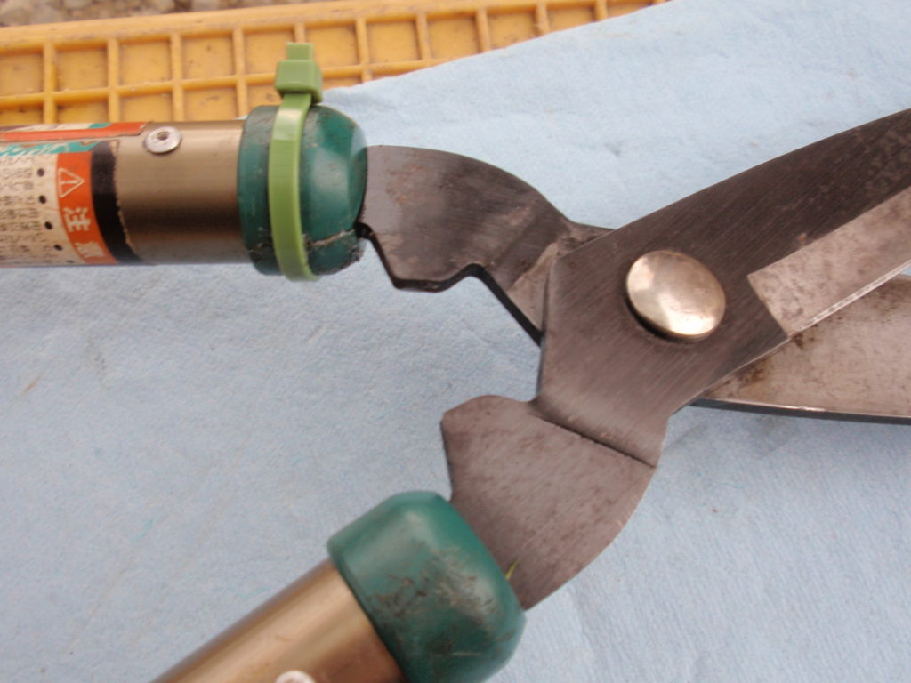刈込みハサミの柄修理 失敗例
